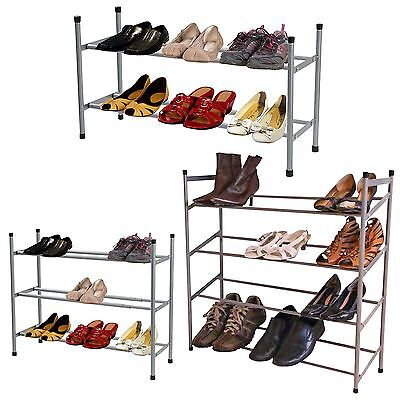 2,3 or 4 Tier Grey Stackable Extendable Shoe Rack Tidy Organiser Storage Stand