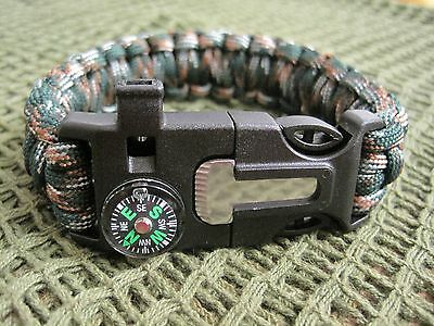 Camouflage Paracord Bracelet With  Flint/steel + Whistle + Compass - Gift