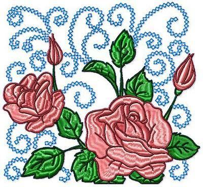 Roses Curly Blocks 10 Machine Embroidery Designs Cd 3 Sizes Included