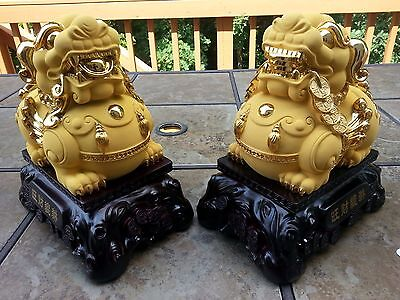 "1 Pair 10""H Chinese Gilt Wealth Dragon PiXiu wing Beast Statue"
