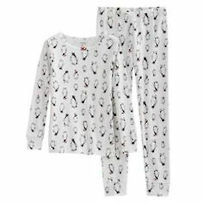 Nwt Carter's 2Pc Girls White With Penquins Pajamas Size 4 & 5