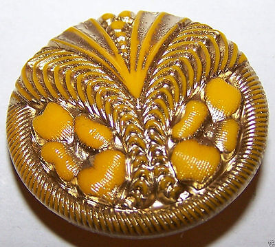 VINTAGE CZECH PASTEL YELLOW GLASS BUTTON - FLORAL style