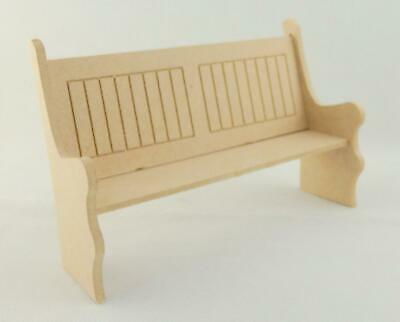 Dolls House Miniature 1:12 Scale Furniture Kit Lattice Church Pew Chapel Bench