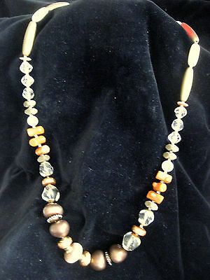 """Italian Bead Necklace Glass Stone Coral Type  32"""""""