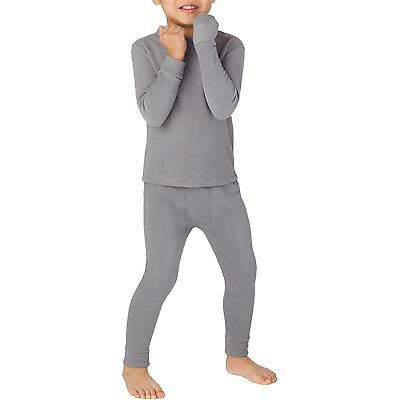 NWT CUDDL DUDS BOYS  GRAY Thermal Polyester 2 piece UNDERWEAR SIZE 4T