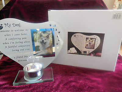 """my Dog""   Memorial Keepsake    Glass Photo Frame And Candle Holder"