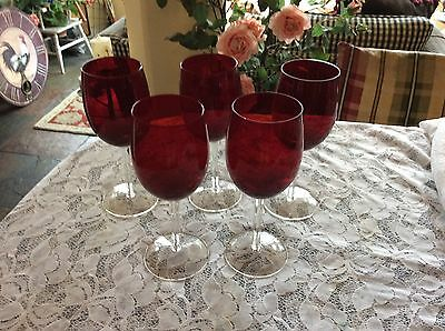 Ruby Red Crystal 12 Oz .wine Glass Goblets W/clear Stem ~Set Of 5~Unknown Maker