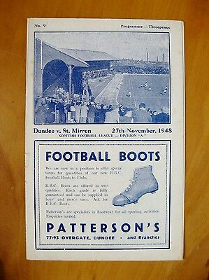 DUNDEE v ST MIRREN 1948/1949 *Excellent Condition Football Programme*