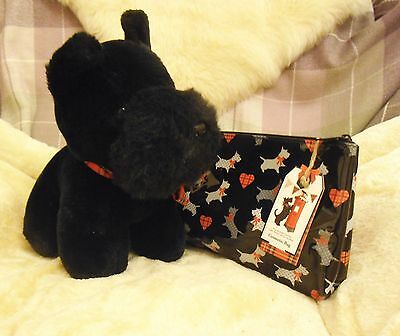 SCOTTISH TERRIER PLUSH TOY & COSMETIC BAG  - Cuddly SCOTTIE & useful bag