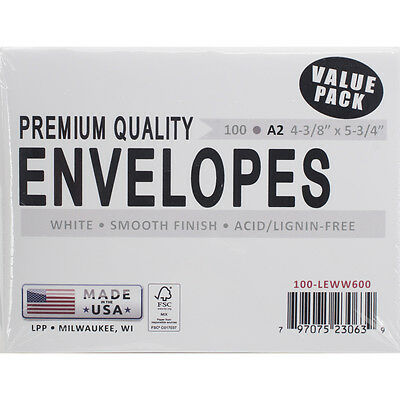 """Leader A2 Envelopes (4.375""""X5.75"""") 100/Pkg-White"""