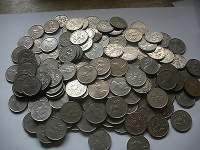 10 old style large FIVE pence 5p coins ideal for old fruit or slot machines