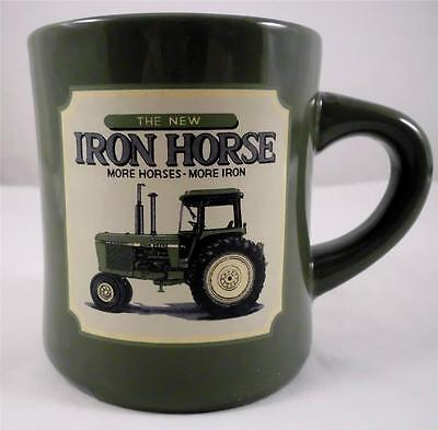 John Deere Iron Horse Tractor Coffee Mug Green Stoneware 2 Sided Picture