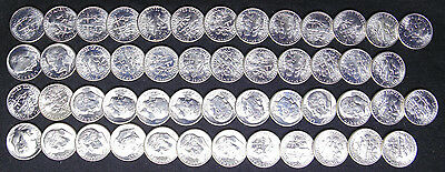 1953 S Roosevelt Dimes Gem Brilliant Uncirculated Bu Full Roll 50 Silver Coins