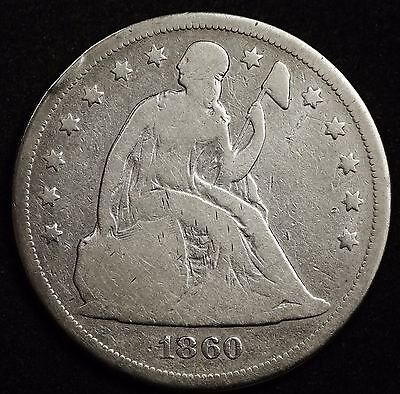 1860-o Seated Liberty Dollar.  G.-V.G.  100828