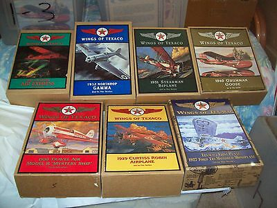 Wings of Texaco Die-Cast Airplane Banks/Lot of 7 - #1 thru #7/New in Boxes