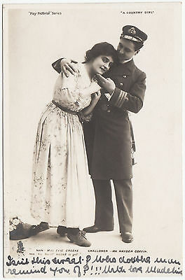 A COUNTRY GIRL - Evie Greene / Hayden Coffin - UK Theater Play - 1903 postcard