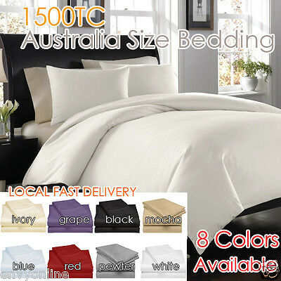 1500TC LUXURY EGYPTIAN PURE COTTON AUS Size Sheet Set Flat,Fitted,Pillowcases