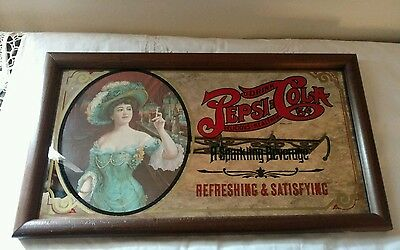 "Vintage Framed PEPSI COLA ADVERTISING MIRROR MAN CAVE DOUBLE DOT 16""X 9"""