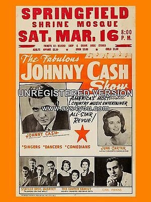 """Johnny Cash Springfield 16"""" x 12"""" Photo Repro Concert Poster"""