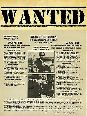 """Bonnie and Clyde 16"""" x 12"""" Photo Repro Wanted Poster"""