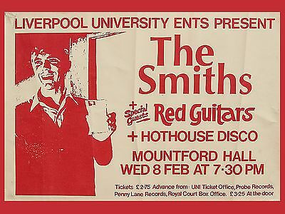 """The Smiths Liverpool uni 16"""" x 12"""" Photo Repro Concert Poster"""