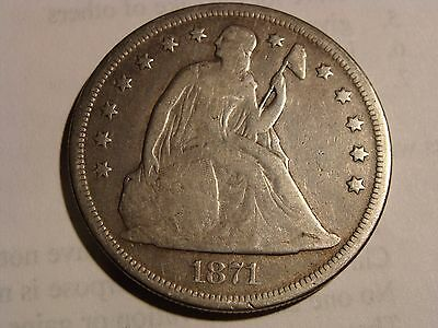 * 1871 Seated Liberty Silver Dollar - VG condition!