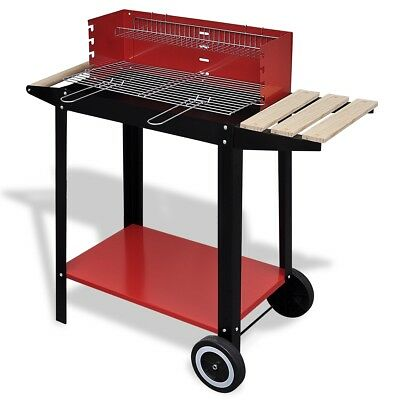 New Charcoal BBQ Stand with 2 Wheels Barbecue Grill Patio Outdoor Garden Camp