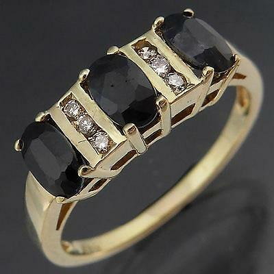 Modern 3 SAPPHIRE 6 DIAMOND across 9ct Solid Yellow GOLD ETERNITY RING Sz M