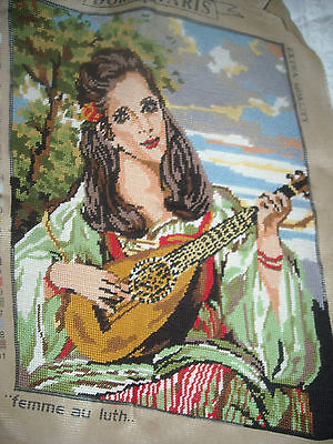 09 Completed Needlepoint Adorable Woman playing Luth