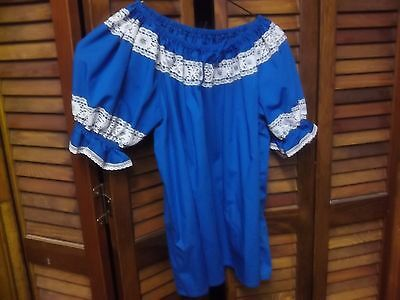 Turquoise Blue Square Dance Blouse/Skirt Partners Please Sz Small/Medium