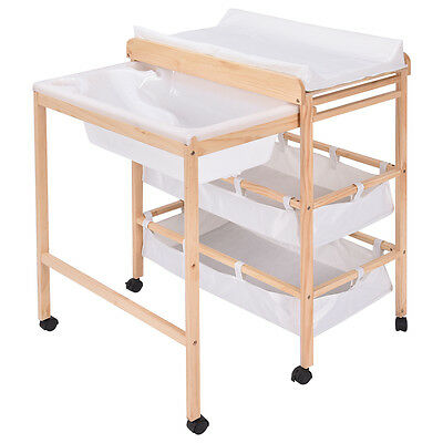 Baby Changing Table Nursery Unit Storage Station Pad Tray Integrated Bath Tub