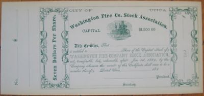 'Washington Fire Co.' 1860s Stock Certificate w/Early Pump - Utica New York / NY