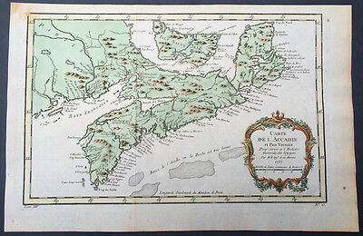 1757 Bellin Antique Map of Arcadia, Nova Scotia, Canada - Louisiana