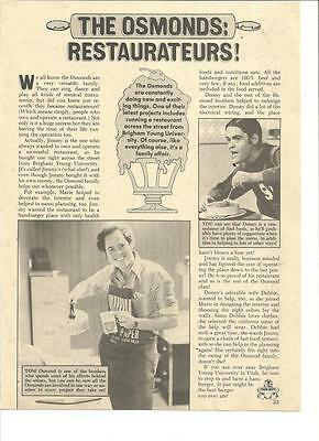 The Osmond Brothers, Scott Baio, Full Page Vintage Clipping, Osmonds, Donny