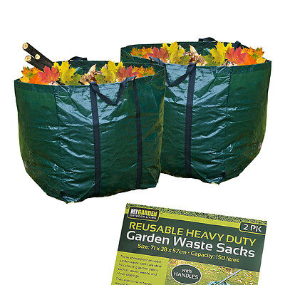 Garden Waste Bags 2 Large Strong Reusable Sack Refuse Rubbish Grass Waterproof