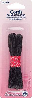 Polyester Cord Black - 1.5m x 6mm. Used for anoraks, sports wear and costumes.