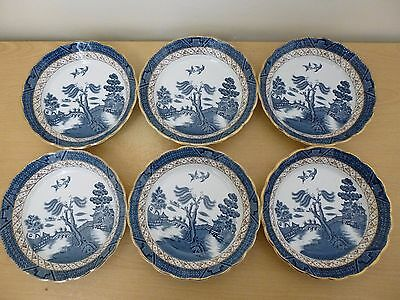 6 Booths Real Old Willow 7.25 inch Soup Bowls - Vintage