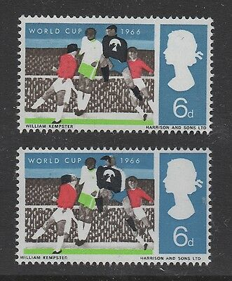 1966 World Cup. 6d value with nice black shift error. Fine unmounted mint.