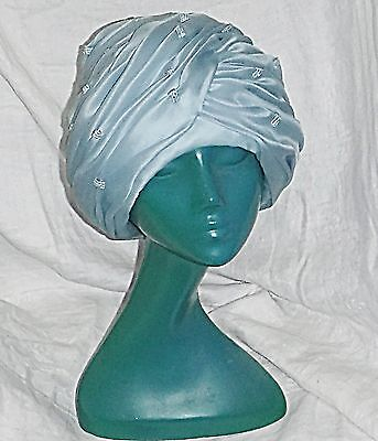Small Vintage Trikki By Edna Wallace Turban Deep Pillbox Hat Pale Blue Folds