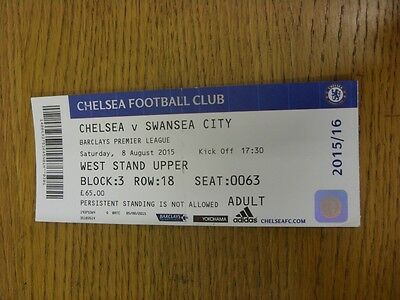 08/08/2015 Ticket: Chelsea v Swansea City  (folded). Thanks for viewing this ite