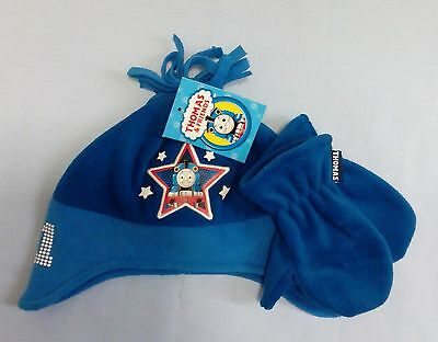 Childrens Boys Thomas The Tank Enginge Character Hat Gloves Mittens Set 2-4 Blue