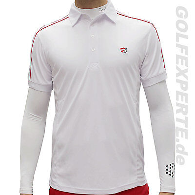 Wilson Staff Poloshirt Performance Perforation, plain white-red, Funktionsfaser