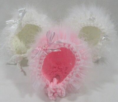 Baby Girls Fluffy Fur Premature Crochet Knitted Bonnet Hat Bow Pom Tiny 0-12 M
