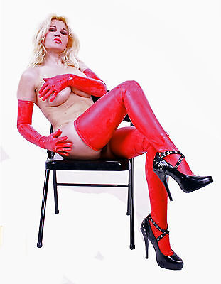 Latex Handschuhe superlang  Rot Red Gloves Englisches Latex  Gr. S M L XL