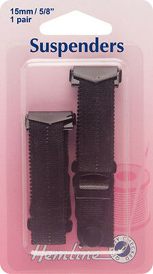 Suspenders: Black - 15 x 170mm. Quick easy to use. Hook open ends on to lingerie
