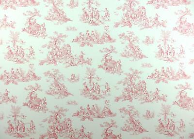 Dolls House Miniature Print 1:12 Scale Pre Pasted Wallpaper Pink Toile