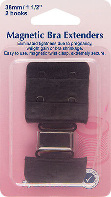 Hemline - Magnetic Bra Extender: Black - 38mm Relieves Tightness No Sew