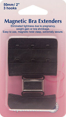Hemline - Magnetic Bra Extender: Black - 50mm Relieves Tightness No Sew