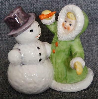 Charming Vintage Goebel West Germany #11705 Young Girl With Snowman Figurine