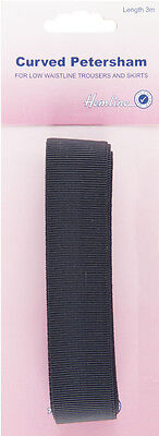 Curved Petersham: Black - 3m x 25mm. Easy to sew. Use on skirts, trousers etc.
